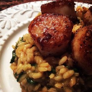 Seared Scallops with Shrimp Risotto