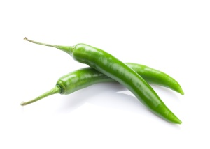 Green chili peppers. Isolated on white background